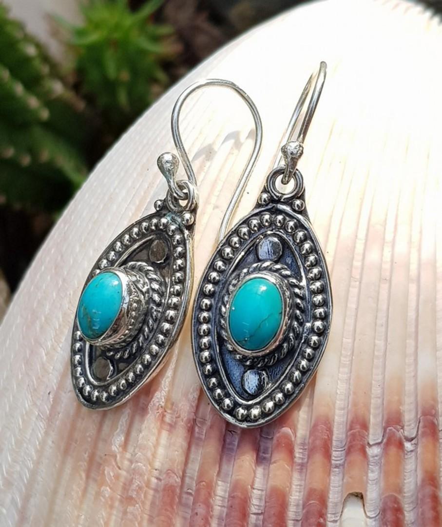 Sterling silver hook turquoise earrings image 3