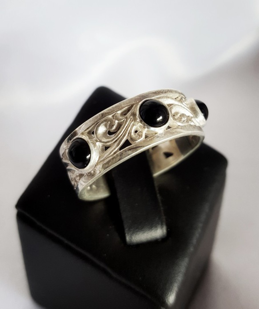 Sterling silver black onyx ring with koru swirls image 1