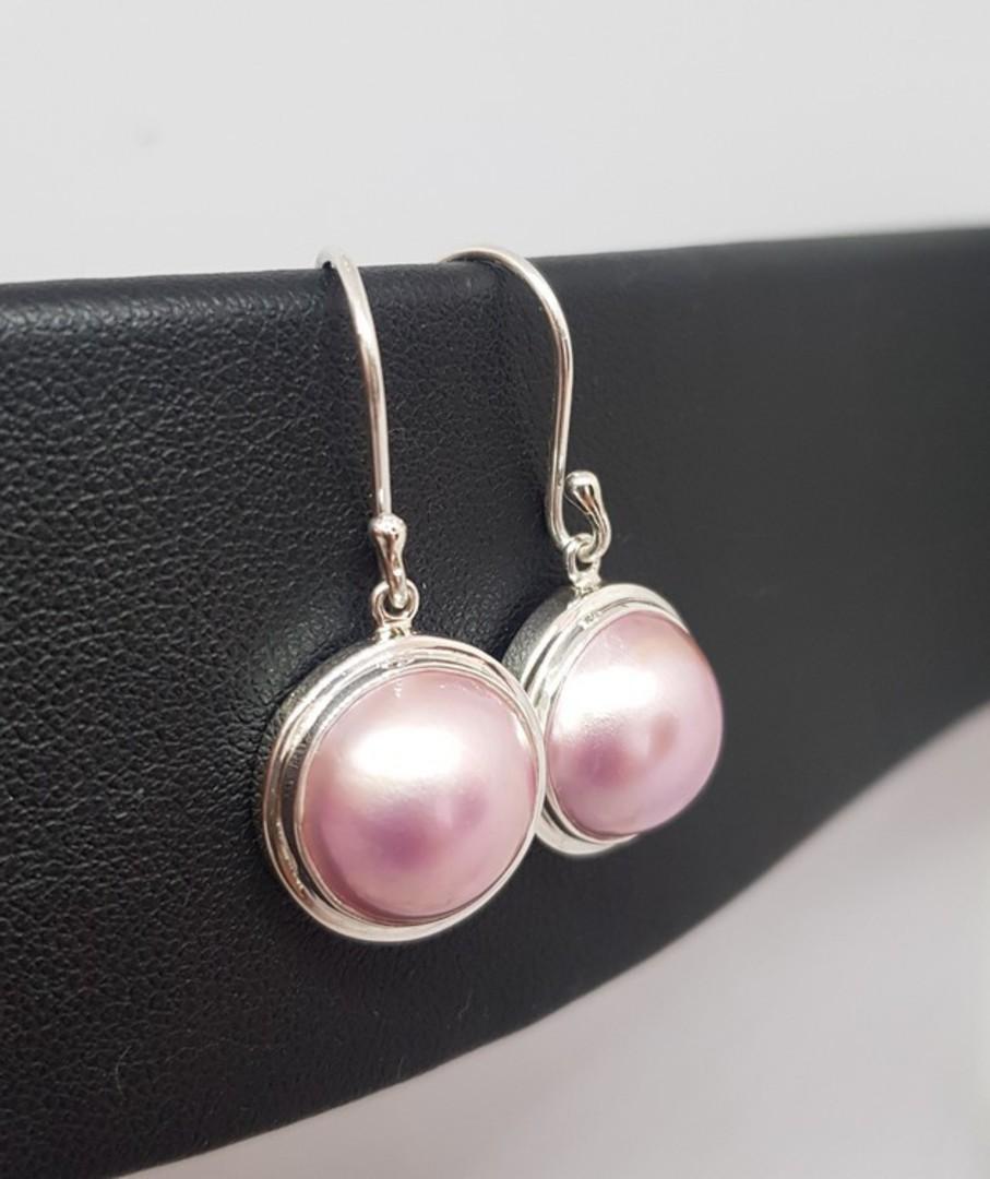 Sterling silver pink pearl hook earrings image 0