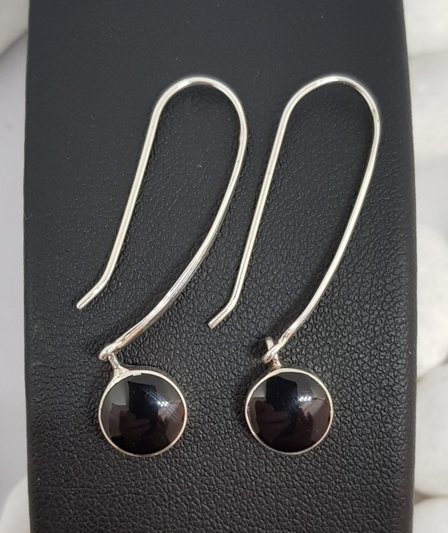 Elegant long hooked black onyx earrings image 2