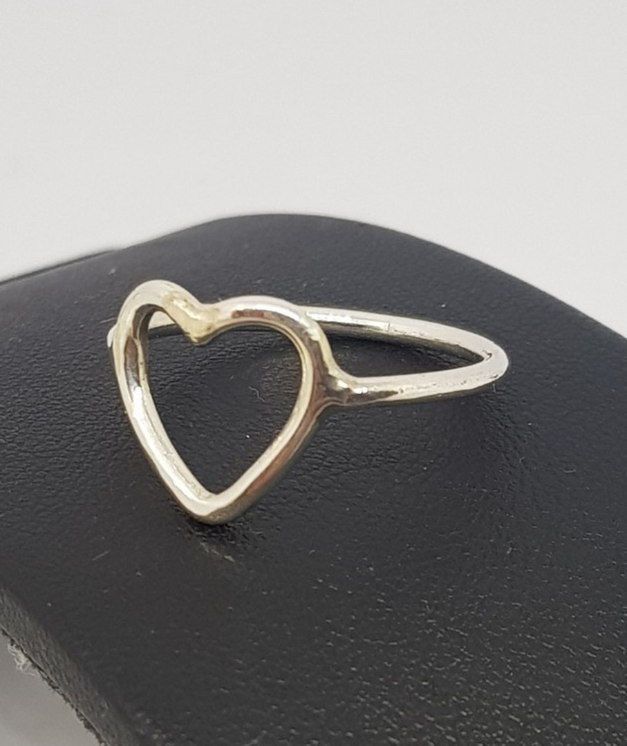 Sterling silver stacking ring with open heart image 1