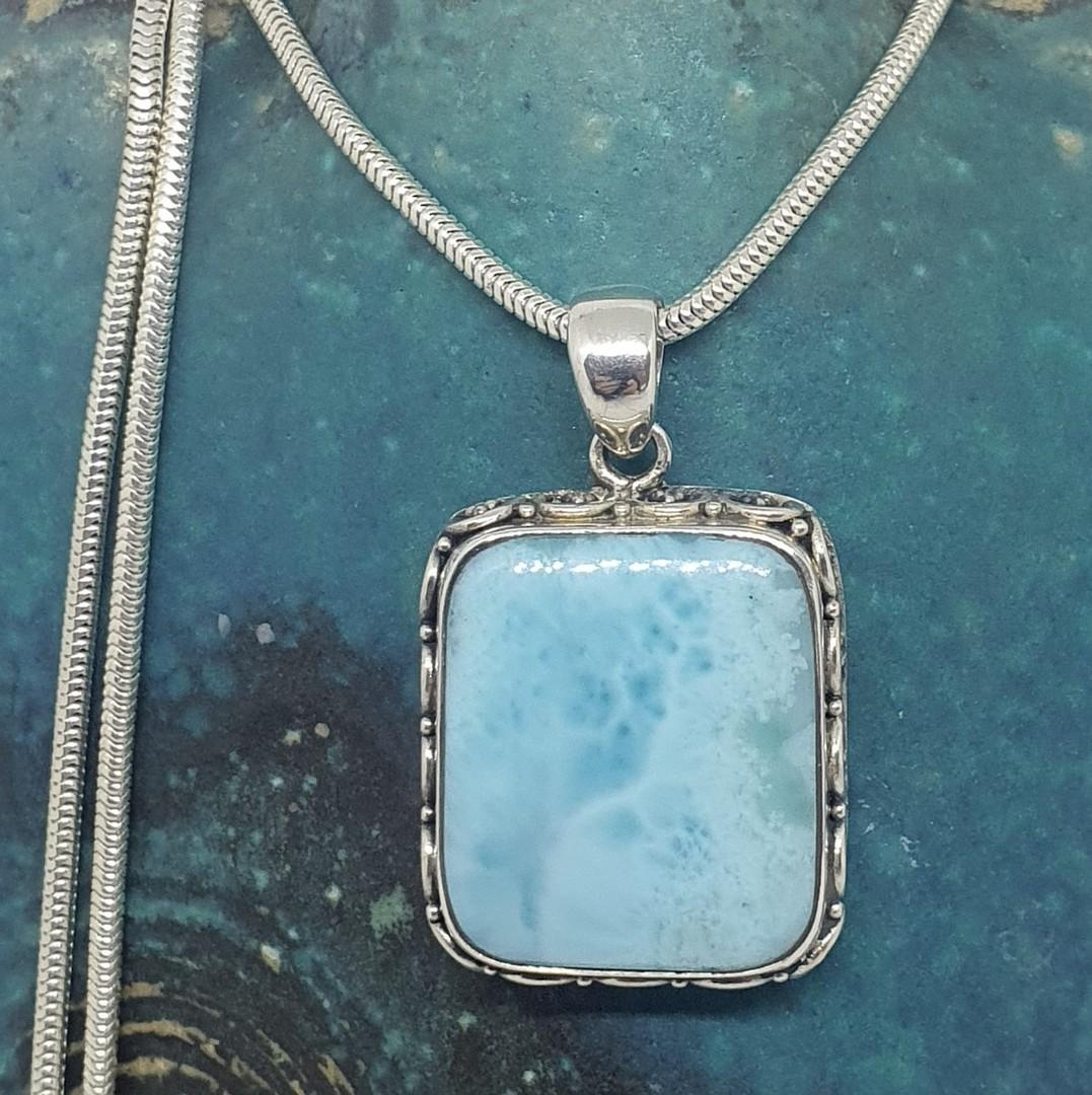 Sterling silver larimar gemstone pendant image 2