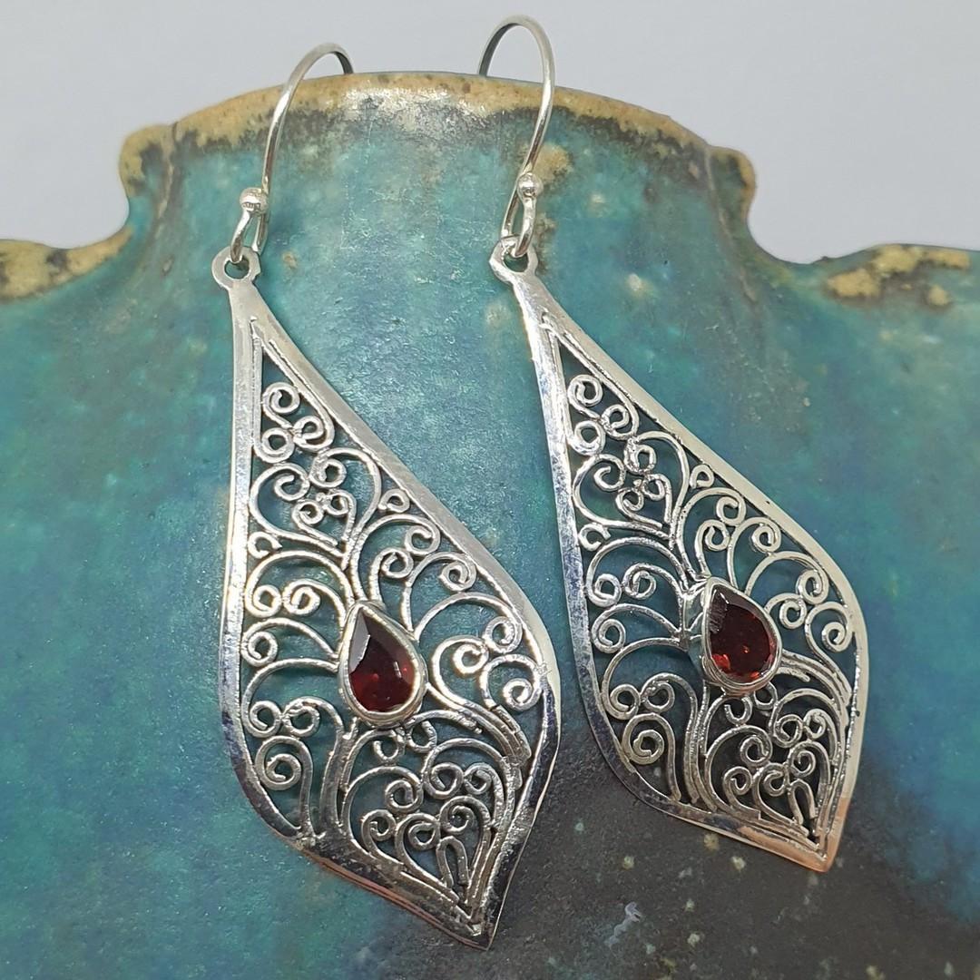 Sterling silver filigree garnet earrings image 0