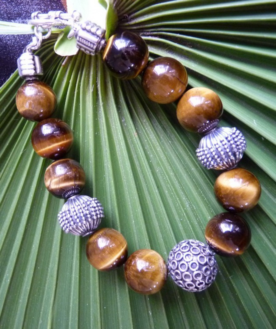 Tigers eye and silver beaded bracelet - made in NZ image 2