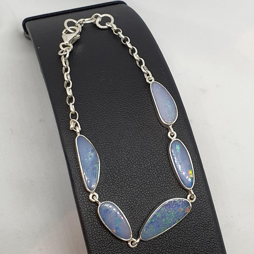 Delicate sterling silver opal bracelet image 0