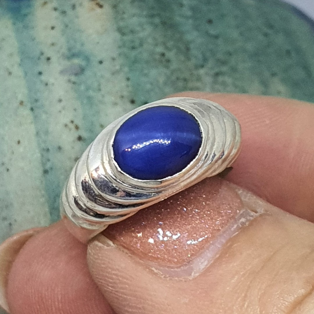 Simulated blue star sapphire silver ring image 1