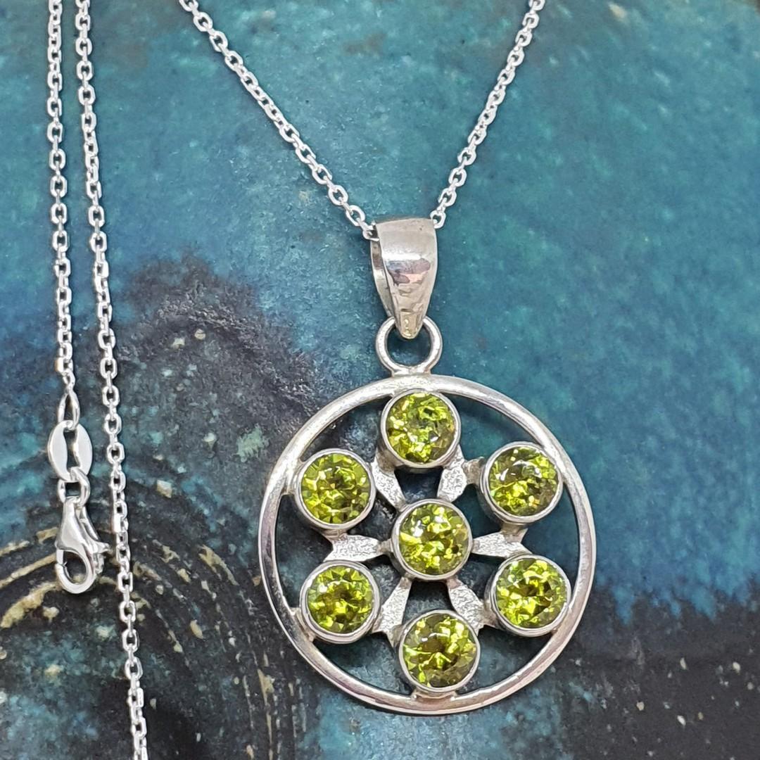 Sterling silver green peridot pendant image 1