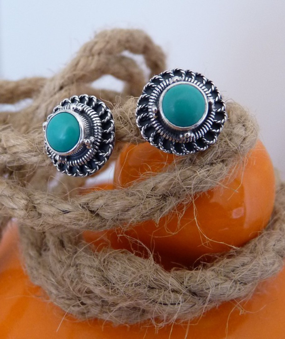Silver turquoise stud earrings image 2
