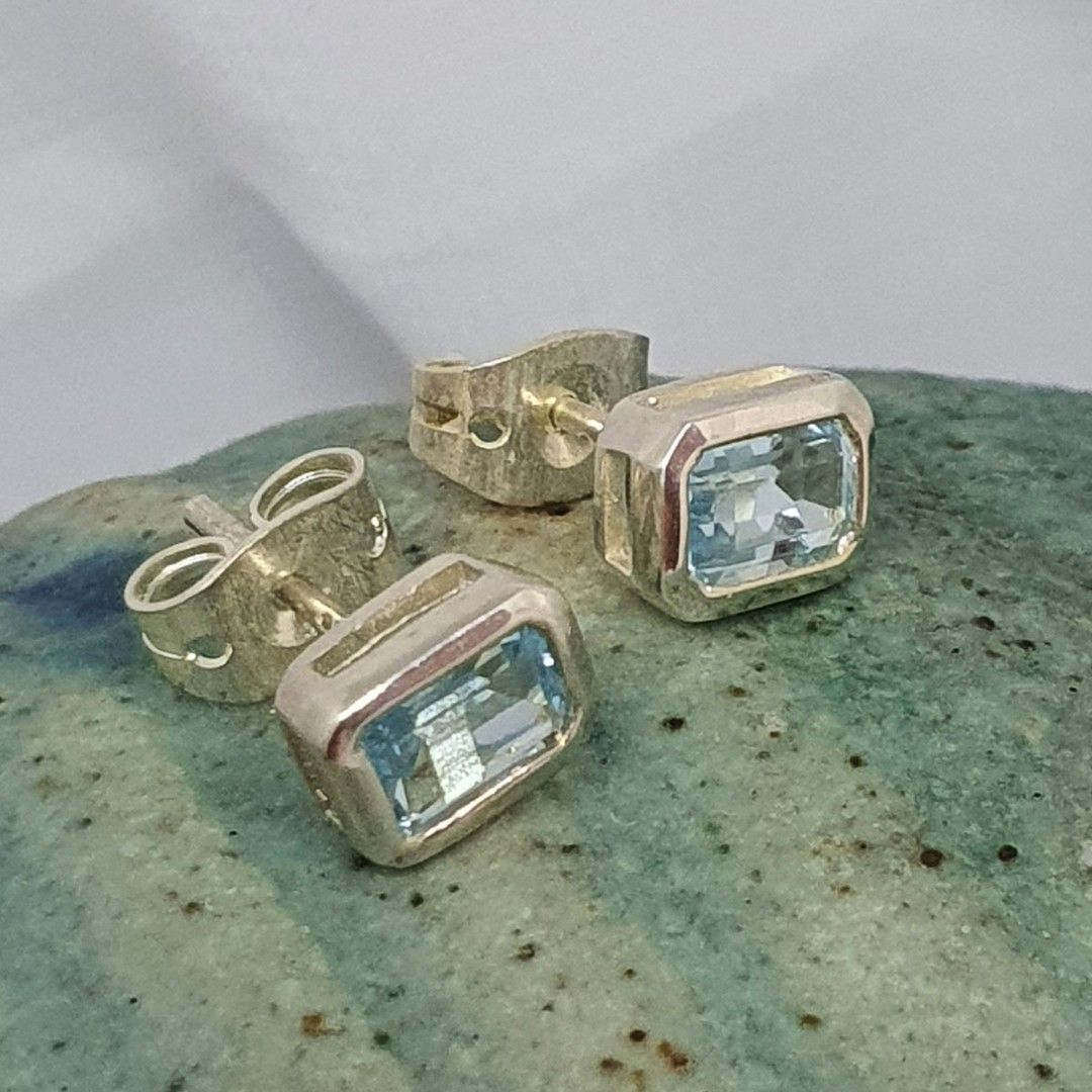 Blue topaz rectangle stud earrings image 0