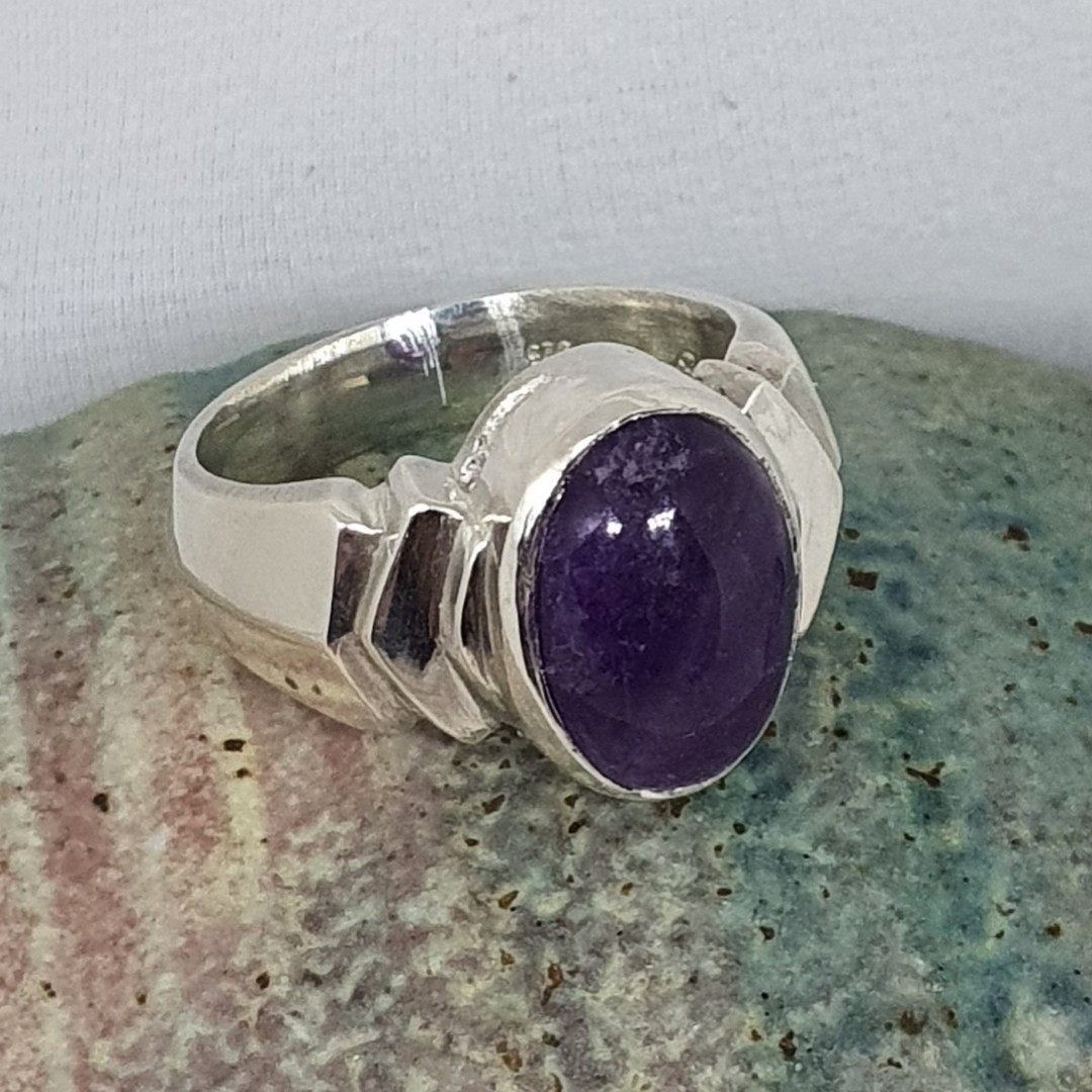Sterling silver oval amethyst ring, made in NZ image 1