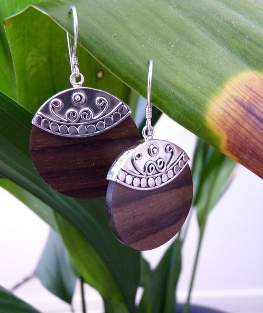 Polished wooden earrings with silver hook image 3