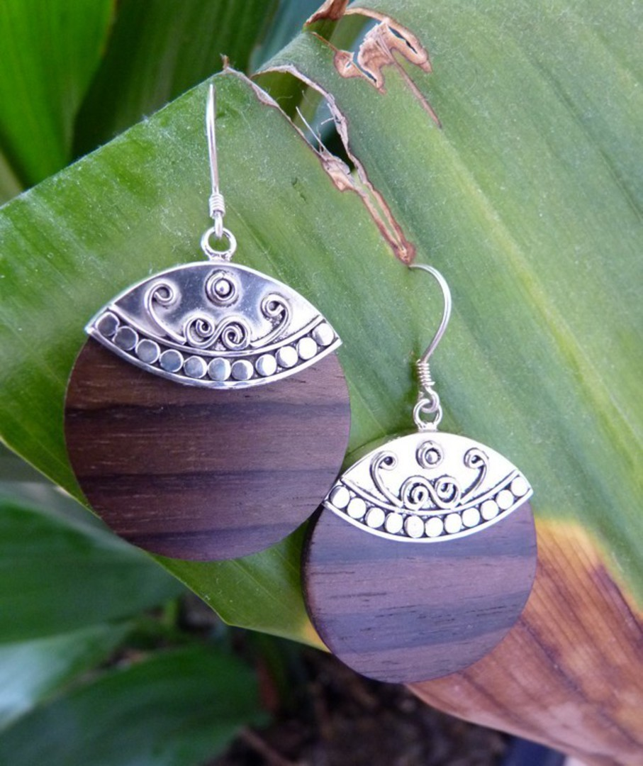 Polished wooden earrings with silver hook image 1