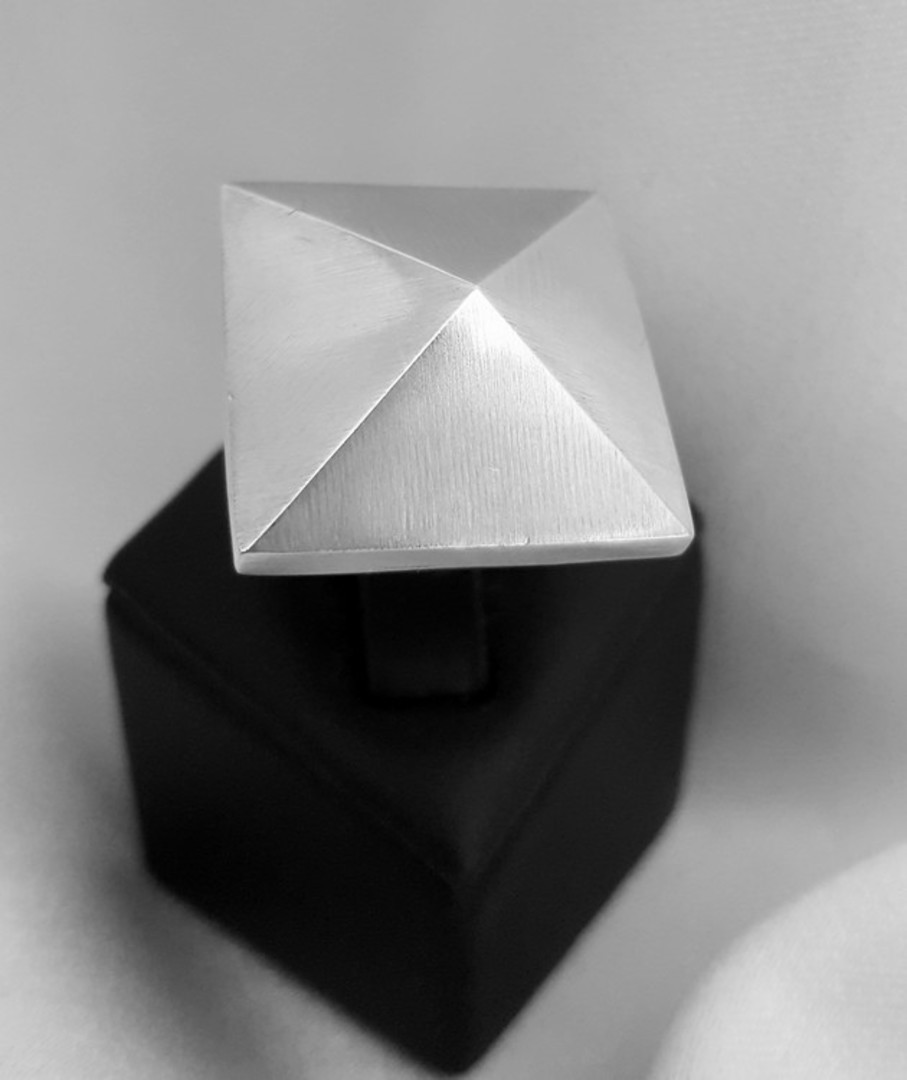 Funky pyramid ring, sterling silver, made in NZ image 2