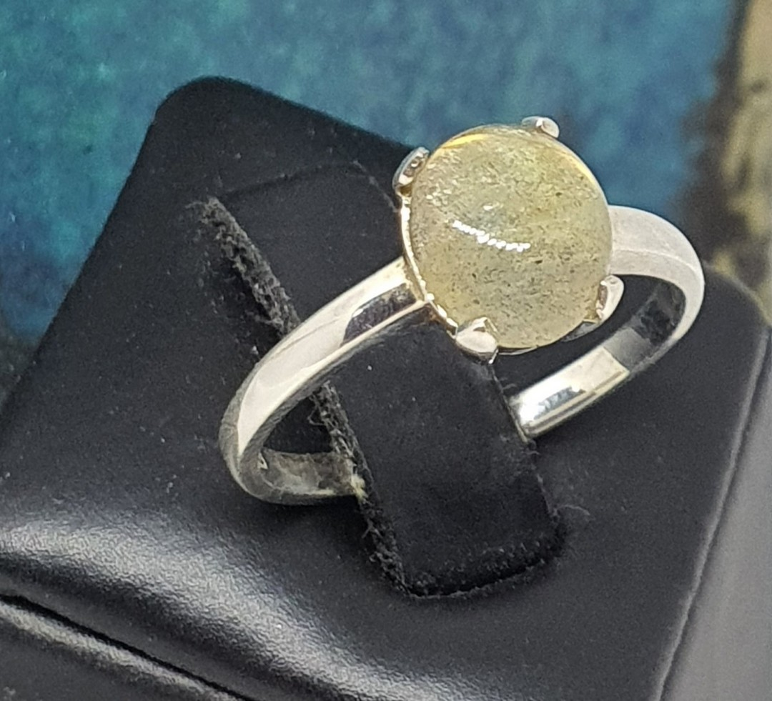 Small oval labradorite sterling silver ring image 1