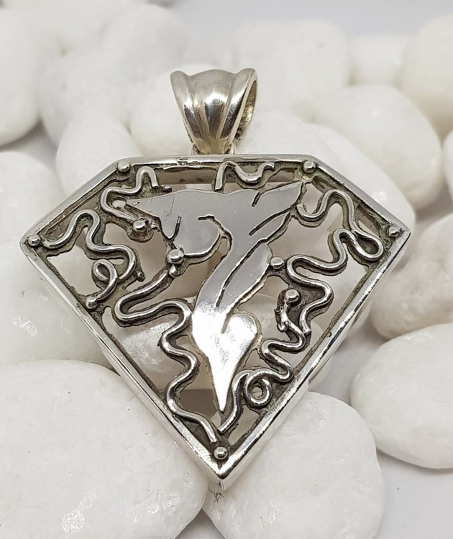 Large carved silver triangle pendant necklace image 0