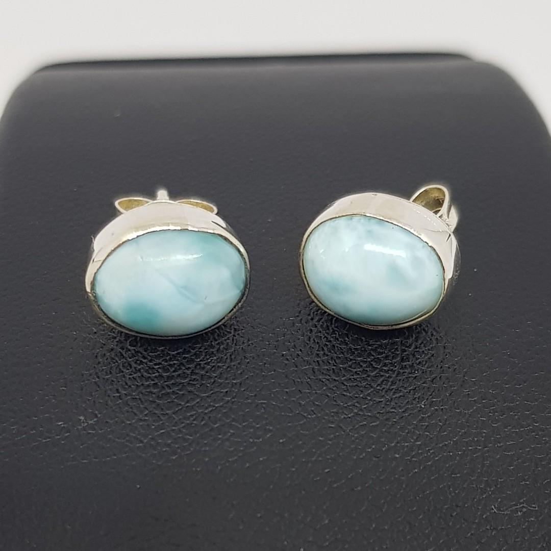 Cute little oval larimar gemstone stud earrings image 2