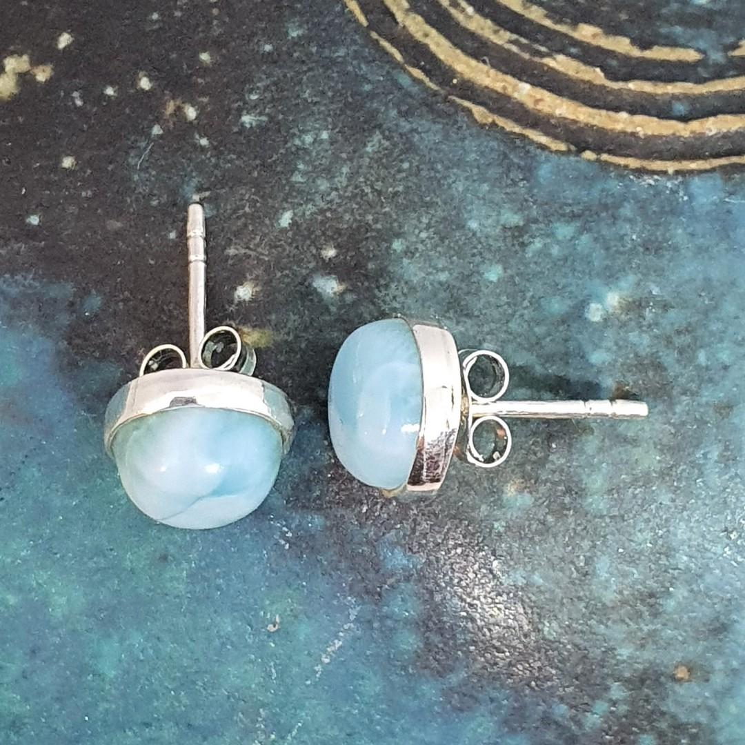 Cute little round larimar gemstone stud earrings image 1