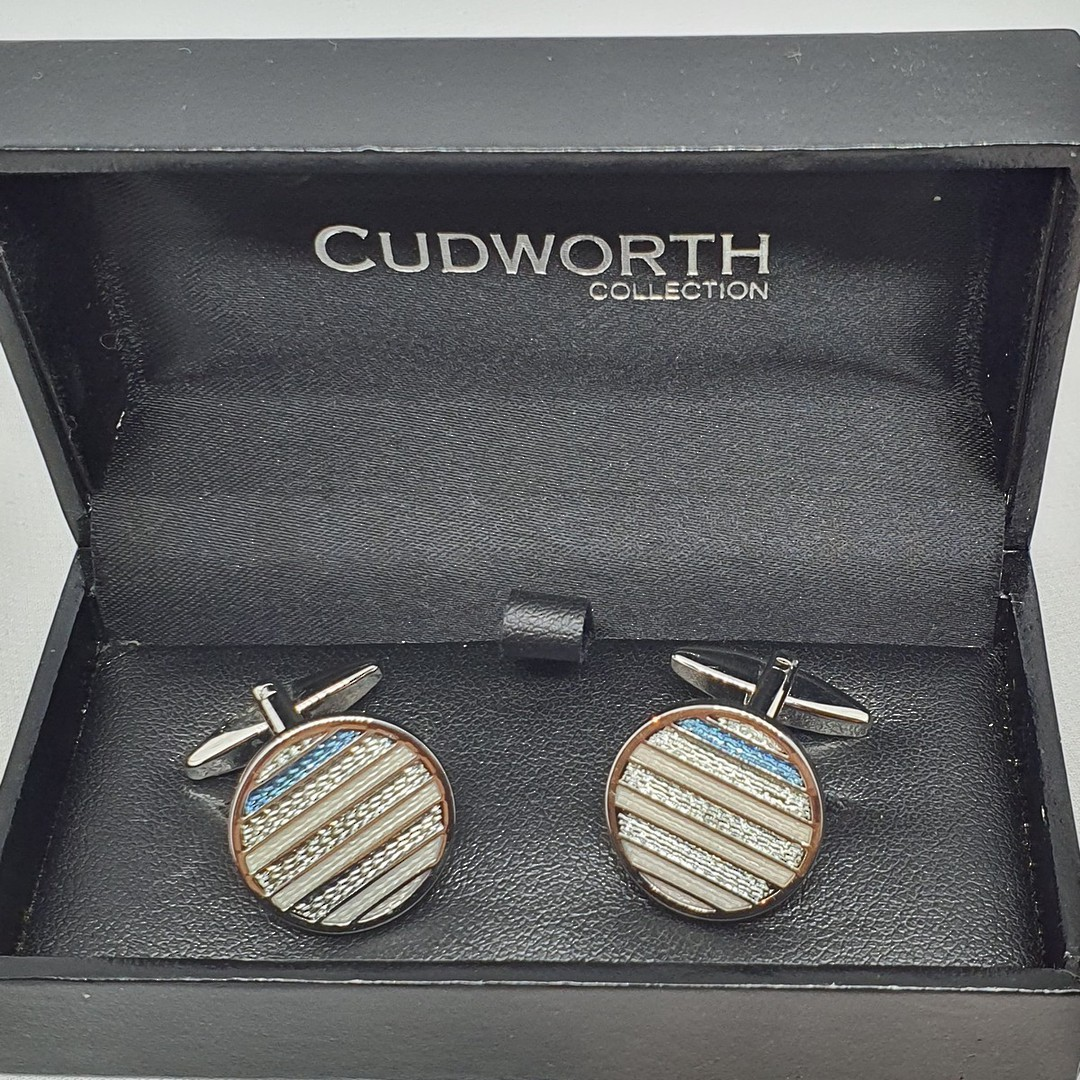 Blue and silver striped round cufflinks image 1