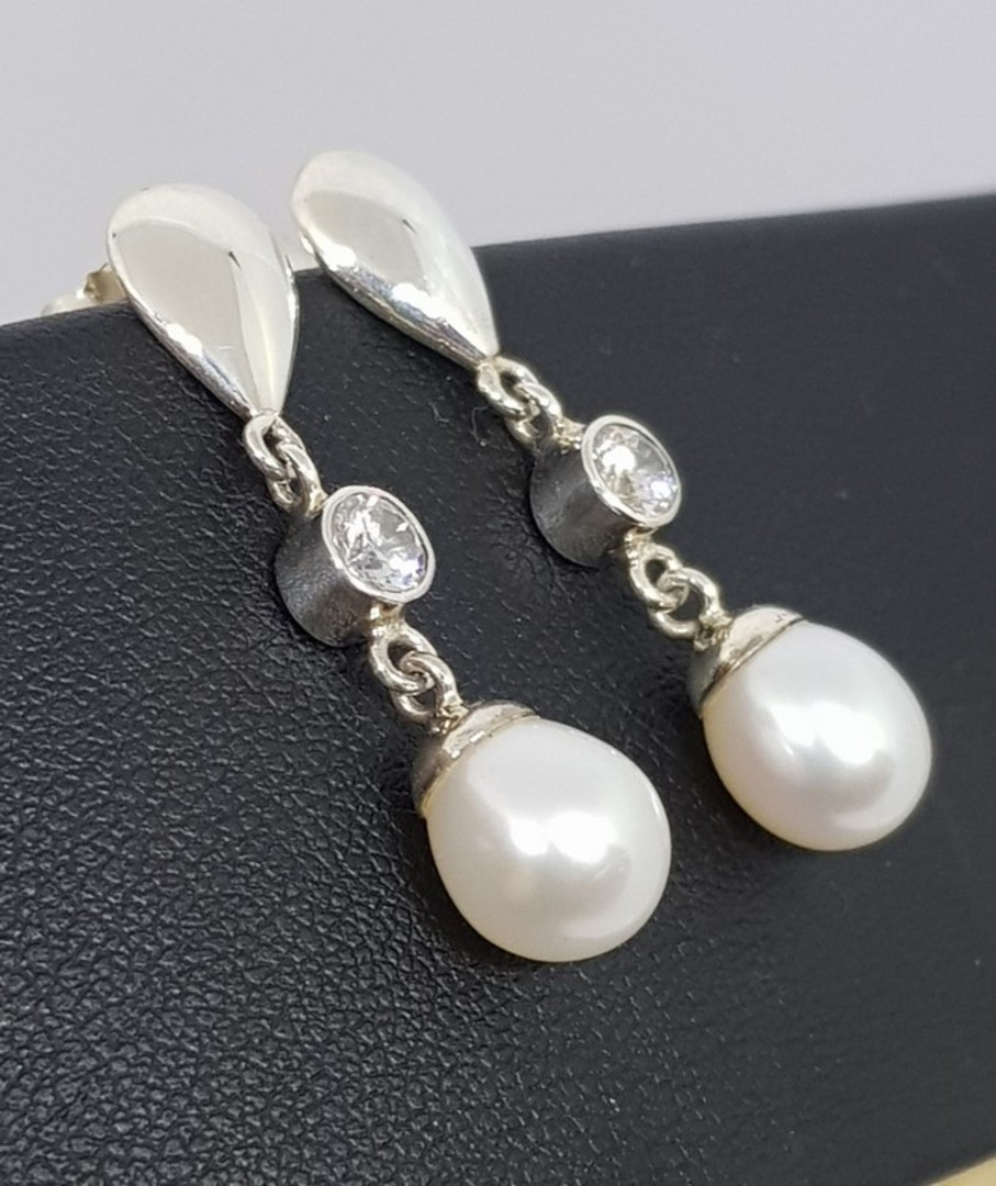 Fresh Water Pearl Drop Earrings with c/z sparkle image 0