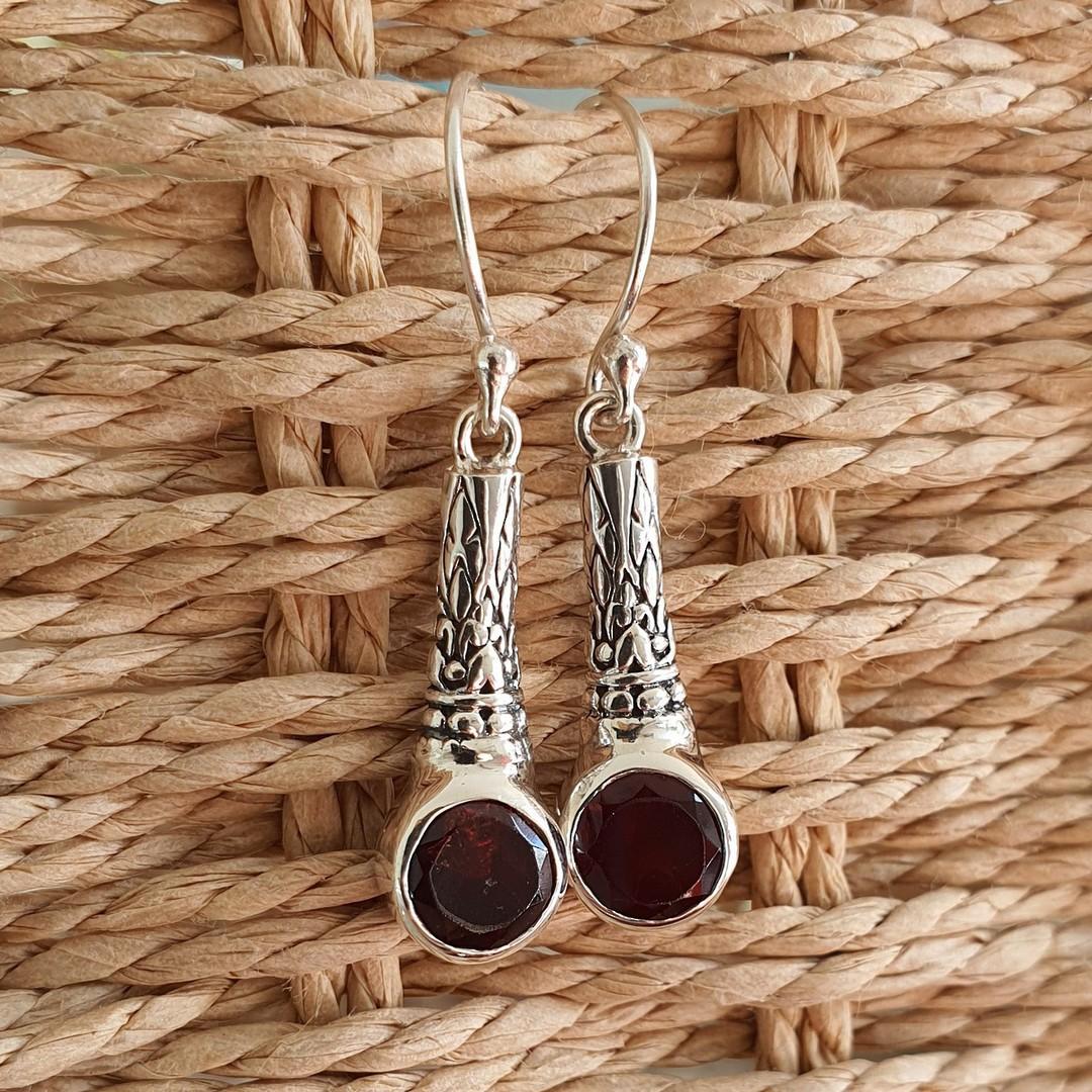 Sterling silver garnet earrings image 1