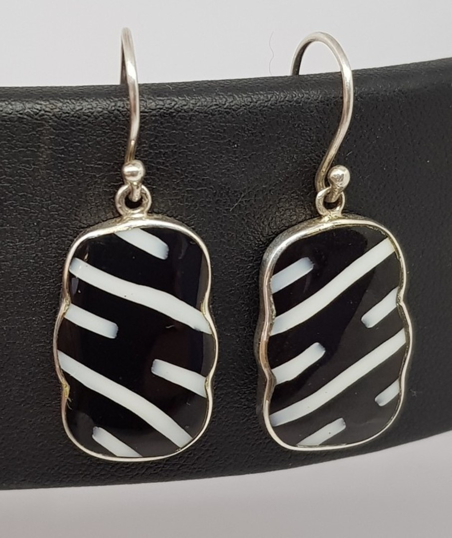 Black and white rectangle silver earrings image 1