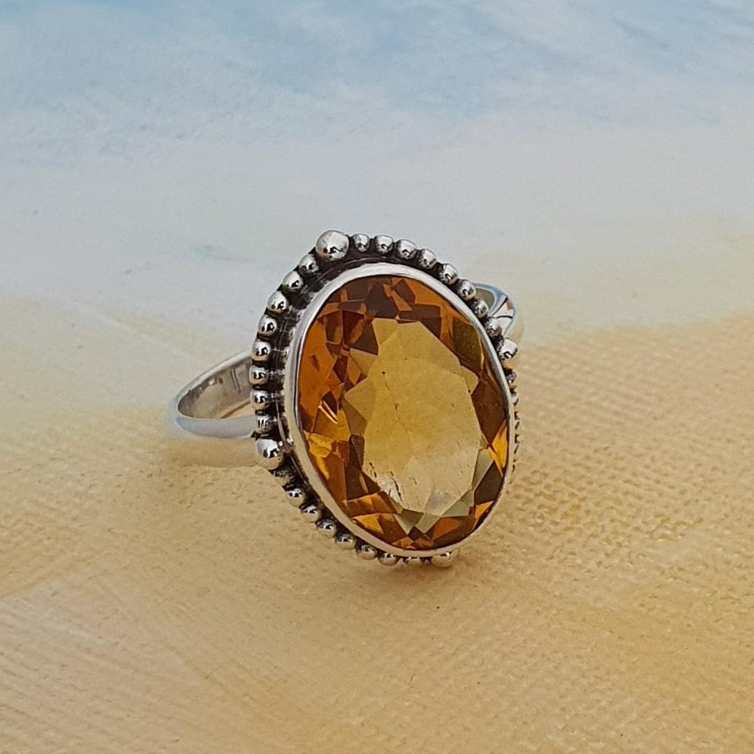 Stunning silver citrine ring image 2