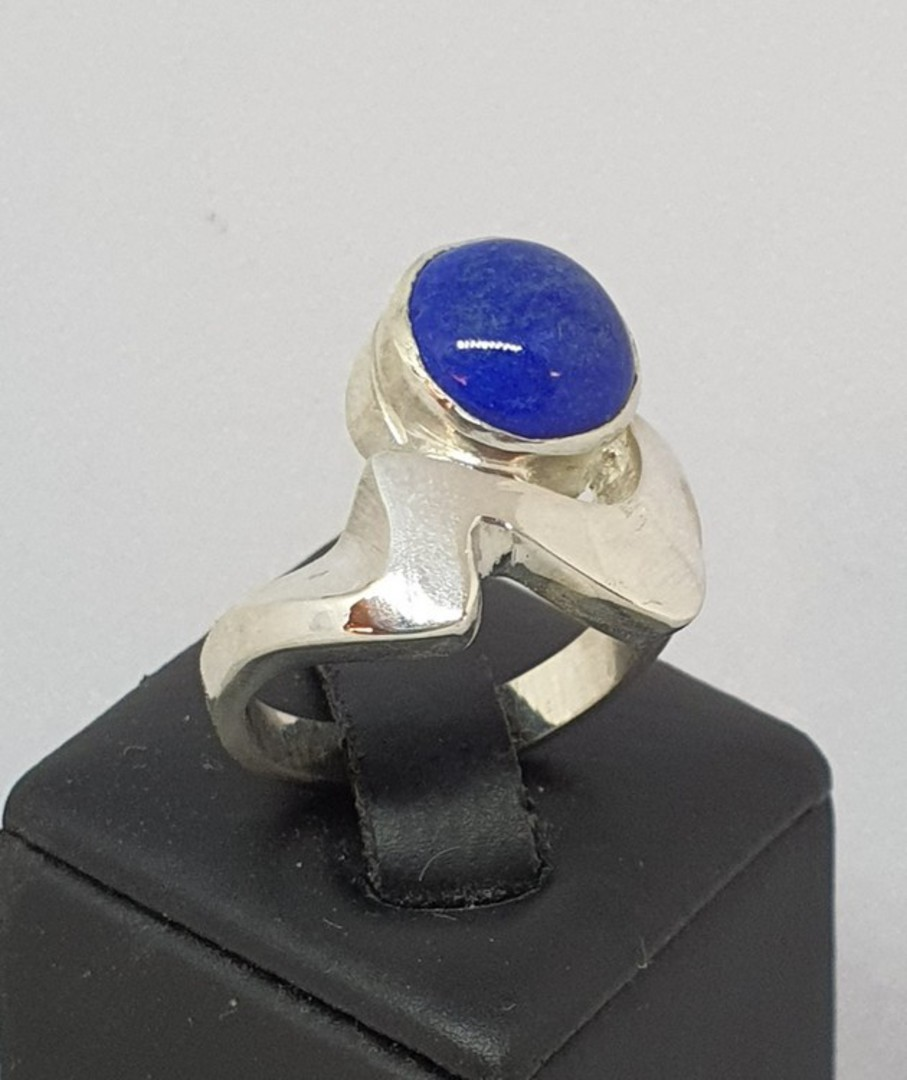 Sterling silver lapis lazuli ring, made in NZ image 0