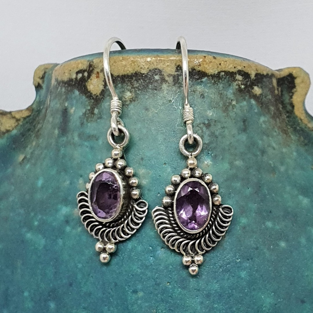 Sterling silver delicate amethyst earrings image 1