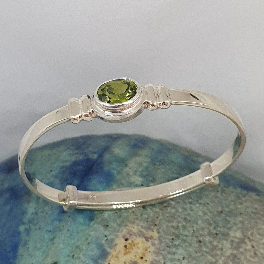 Sterling silver August birthstone baby bangle image 0
