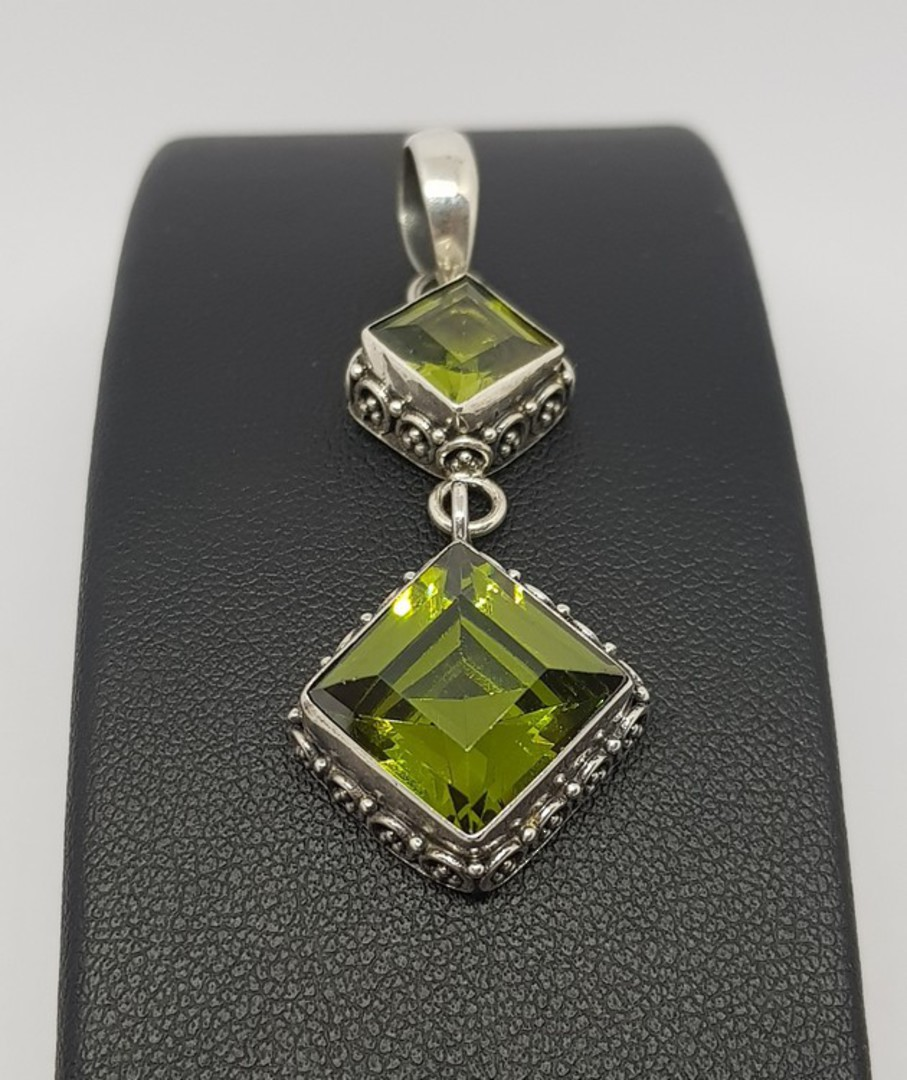 Double hanging silver peridot pendant with filigree frame image 0