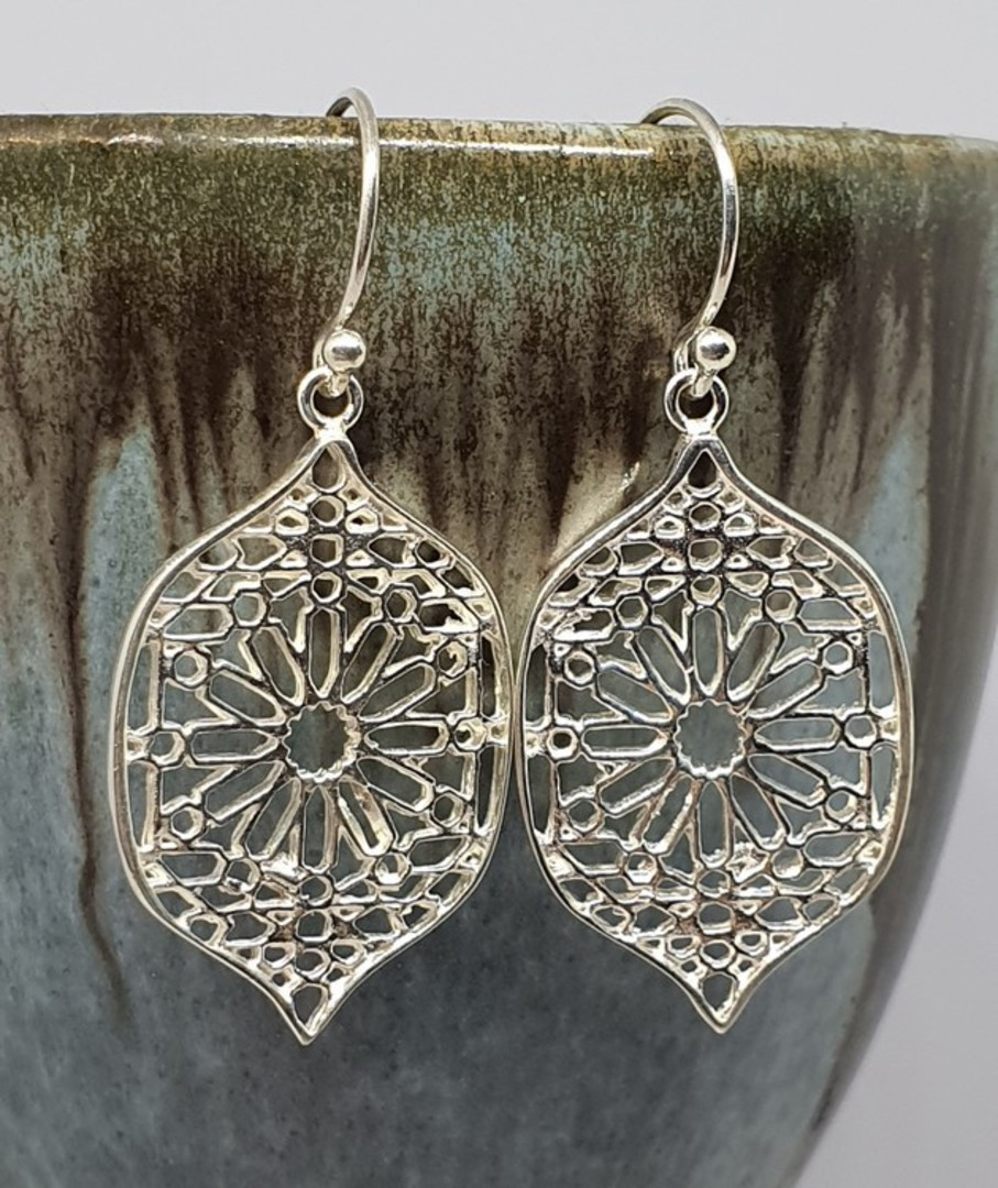 Sterling silver statement flower earrings image 0