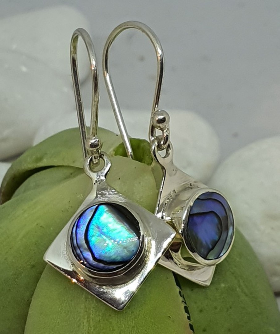 NZ Paua Shell Silver Earrings image 3