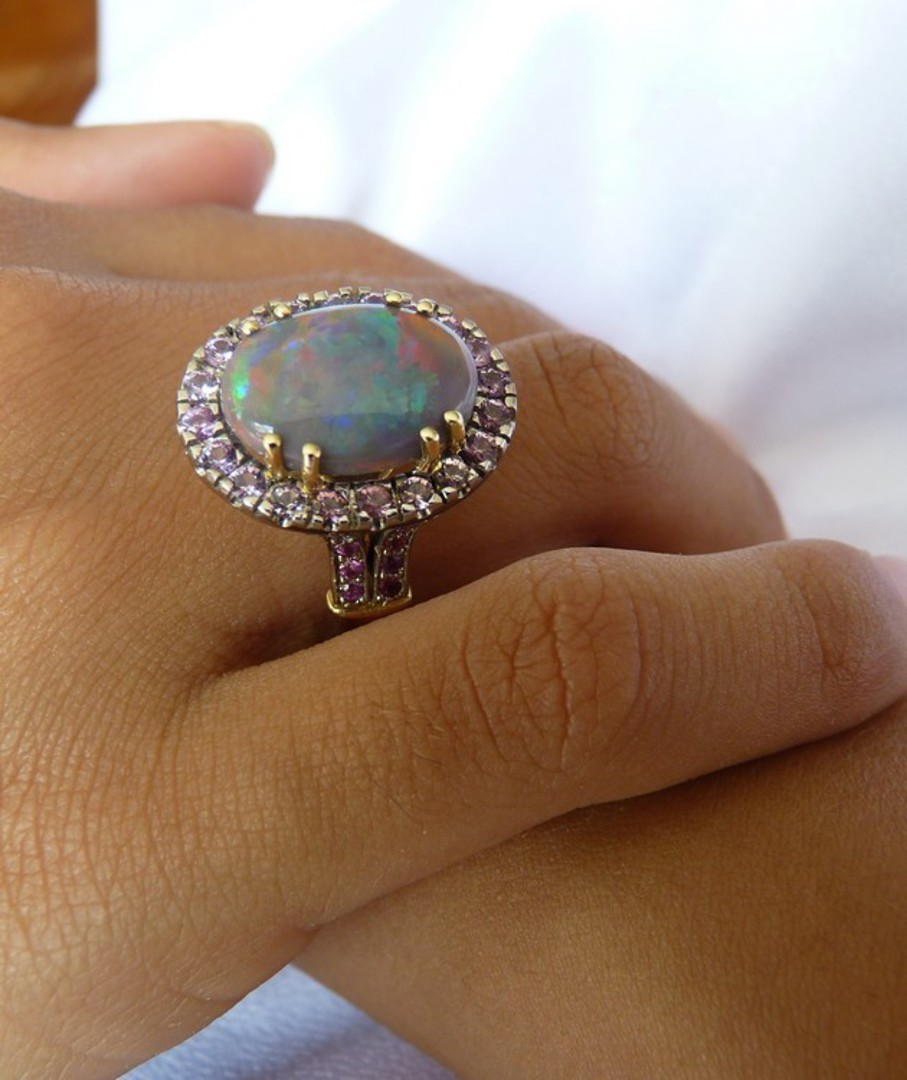 Opal and pink sapphire 18ct yellow gold dress ring image 0