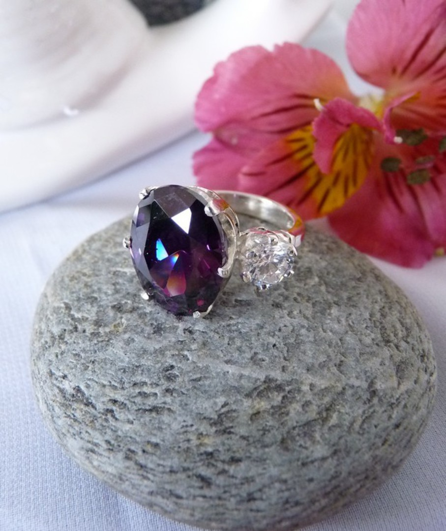 Sterling silver royal purple ring image 2