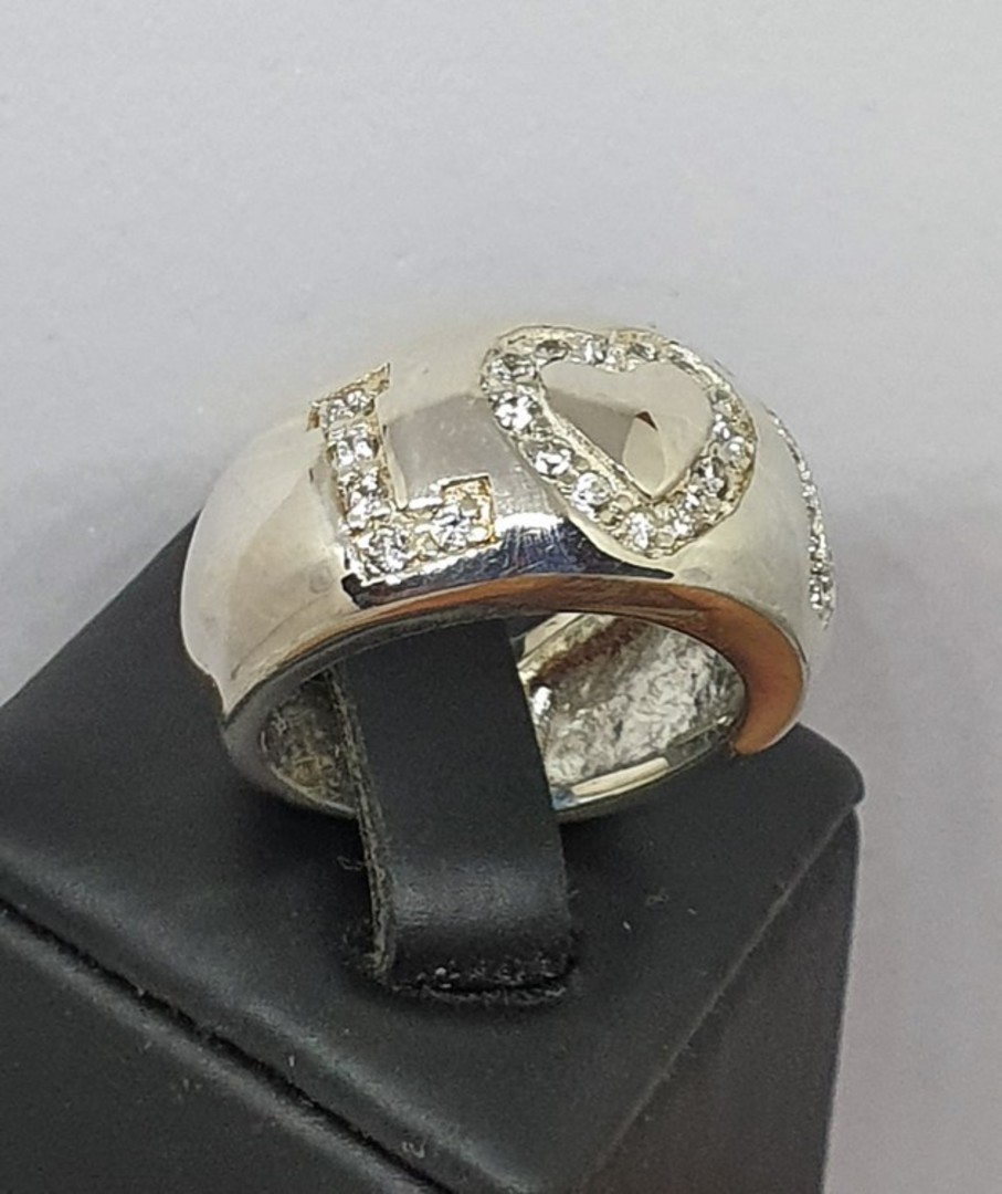 Chunky sterling silver ring with LOVE in CZ image 0