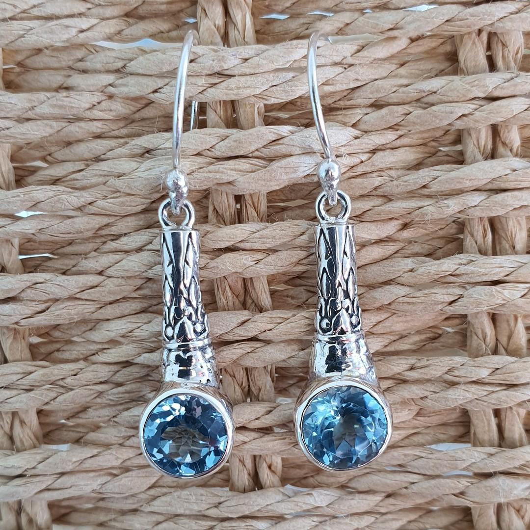 Sterling silver blue topaz earrings image 2