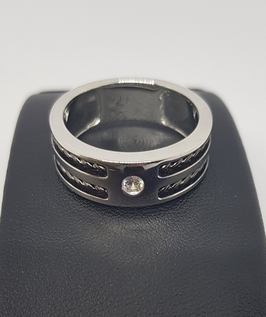 Sterling silver men's ring, wide band, single small cz in top image 2
