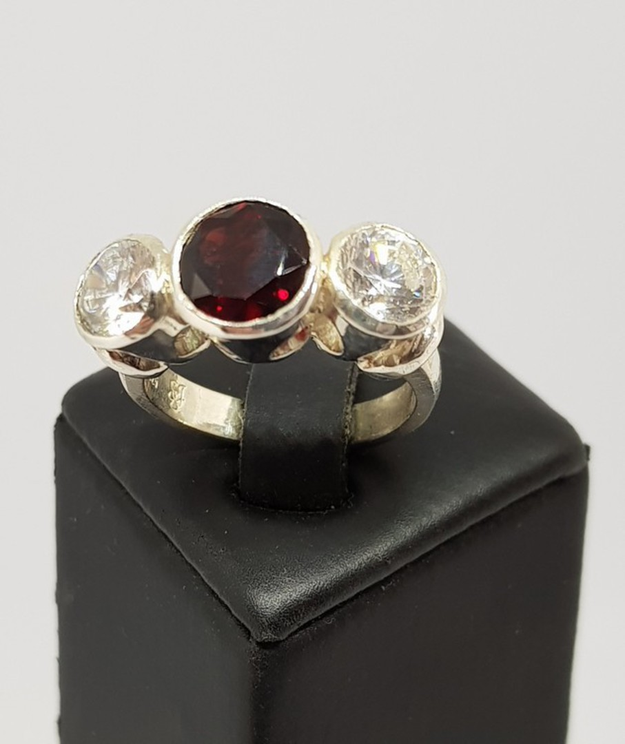 Silver ring with garnet  and cz gemstones - made in NZ image 1