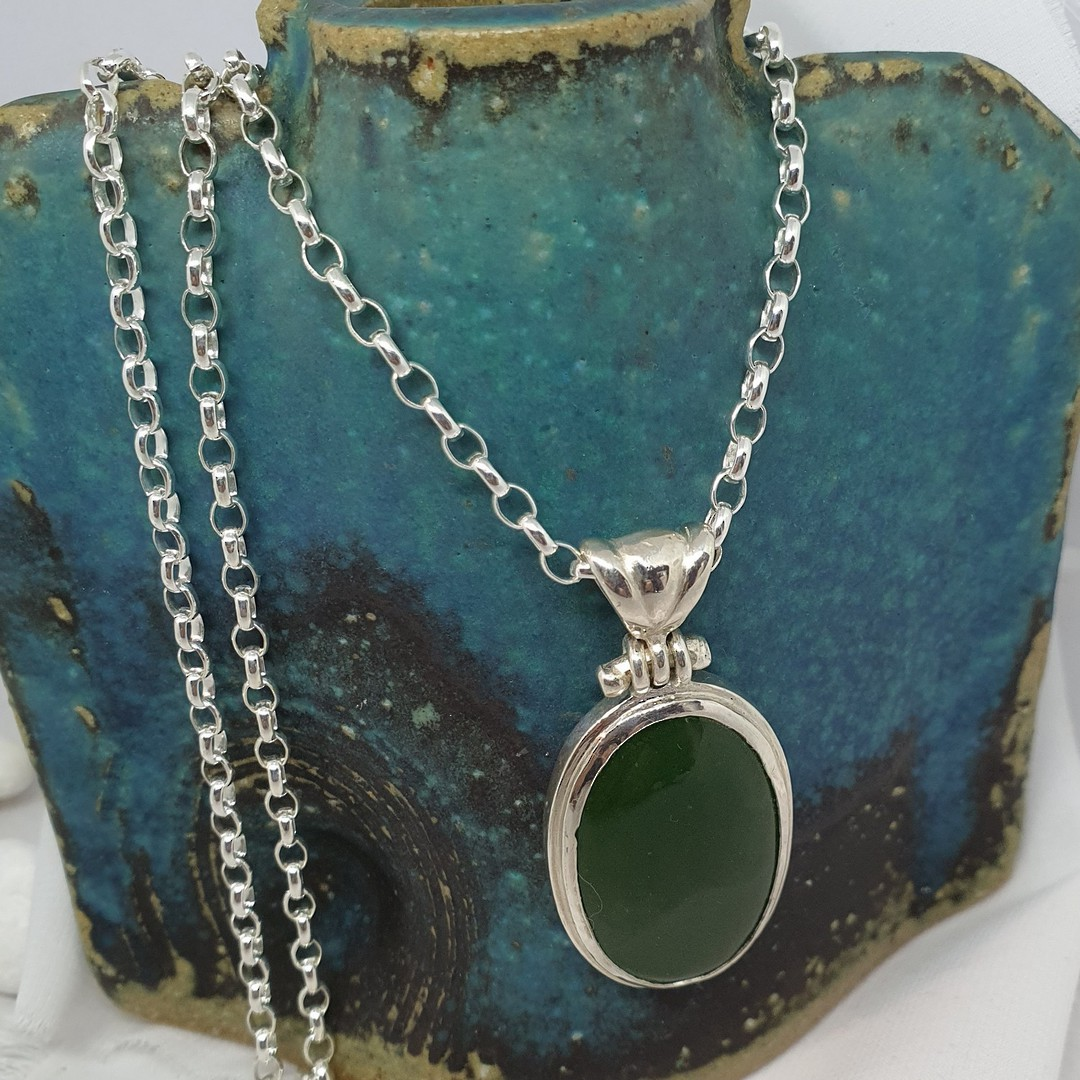 Made in NZ Silver Greenstone Pendant image 2