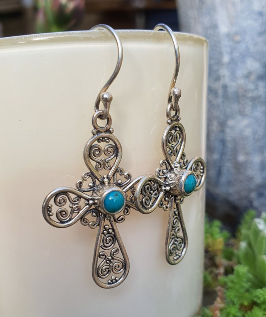 Sterling silver filigree turquoise cross earrings image 1