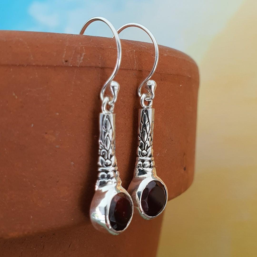 Sterling silver garnet earrings image 2