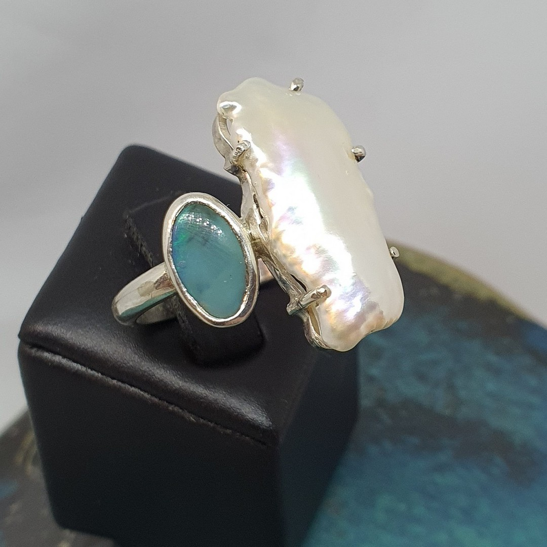 Large fresh water pearl and opal ring image 1