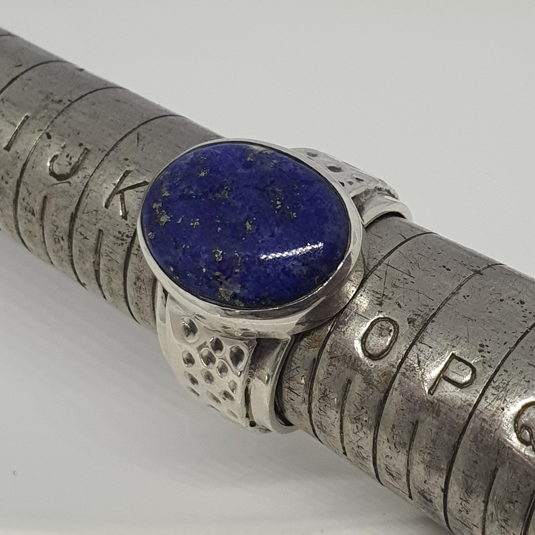 Sterling silver oval lapis lazuli ring image 1