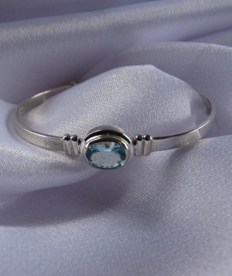 Aquamarine silver baby bangle | Birthstone for March image 0