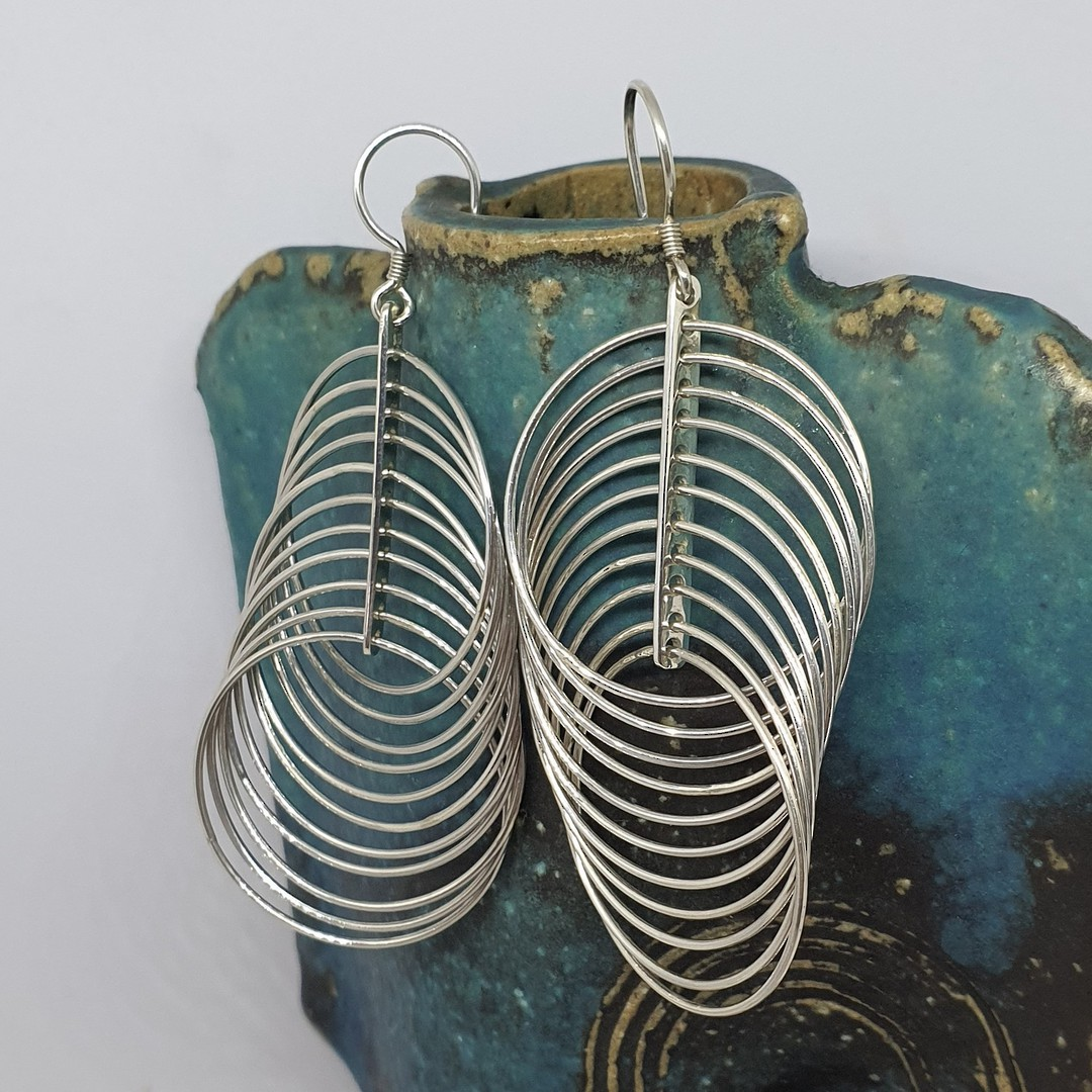 Multi fine circles of silver, long and swirling and fabulous image 3