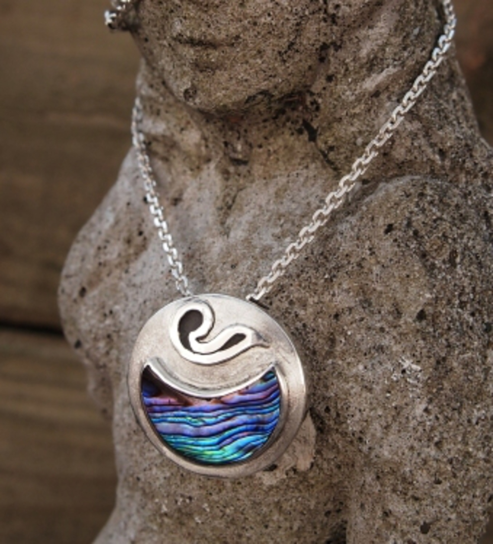 Paua shell silver necklace | Made in NZ image 1