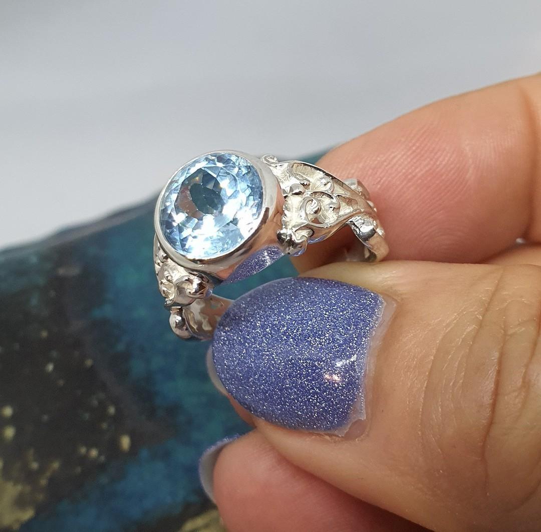 Sterling silver blue topaz gemstone ring image 6