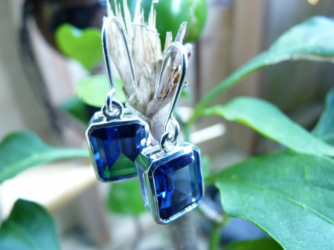 Sterling silver deep blue gemstone earrings image 2