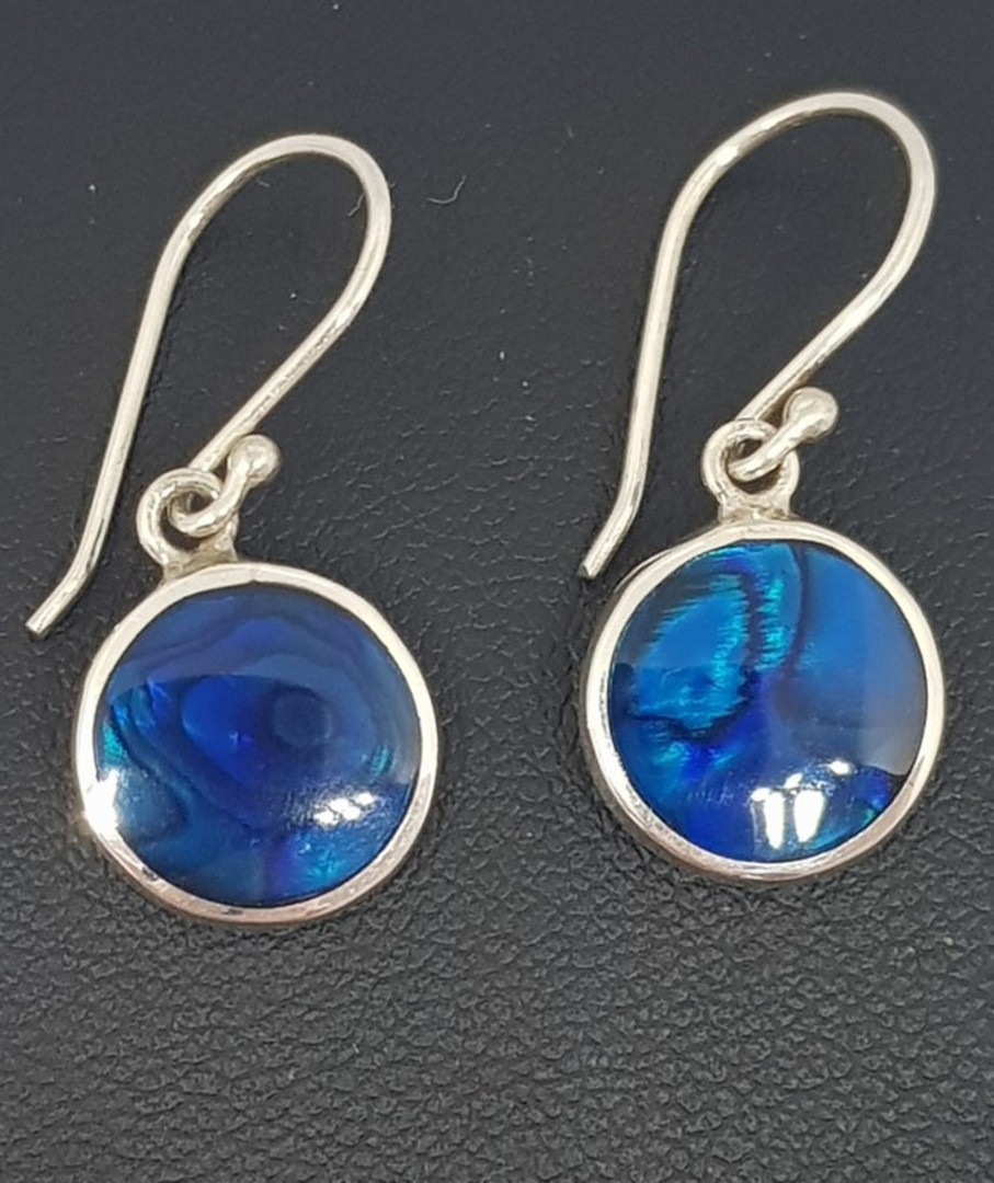 Cobalt blue - dyed paua silver earrings image 2
