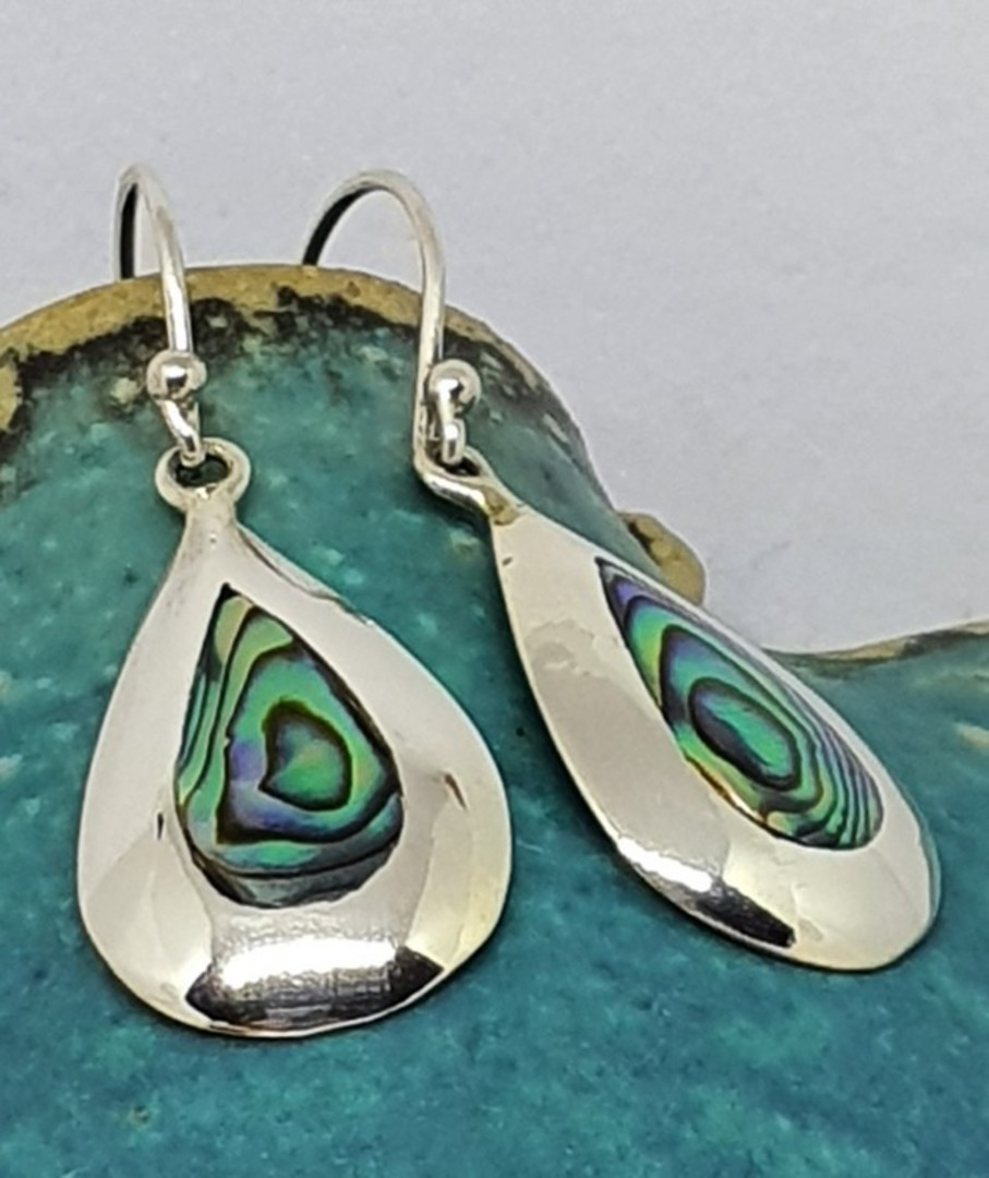 Sterling silver teardrop paua shell hook earrings image 0